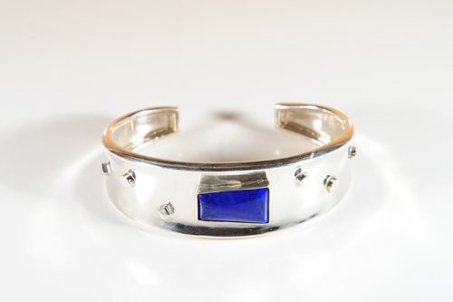 Silver Cuff with lapis gem