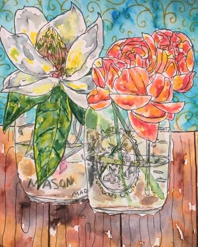 Magnolia and peonies