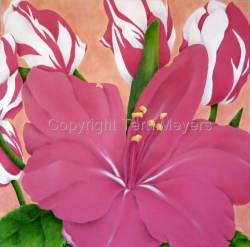 Pink Lily with Tulips