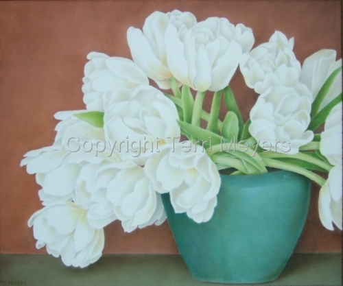White Tulips Blue Vase