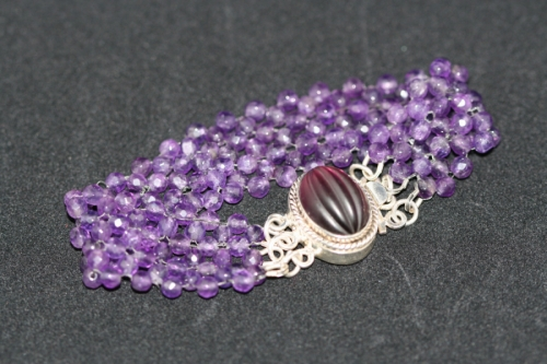 Amethyst Stitched Bracelet by Off the Hook Jewelry