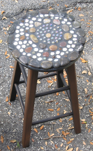 mosaic barstool - earthtones (large view)