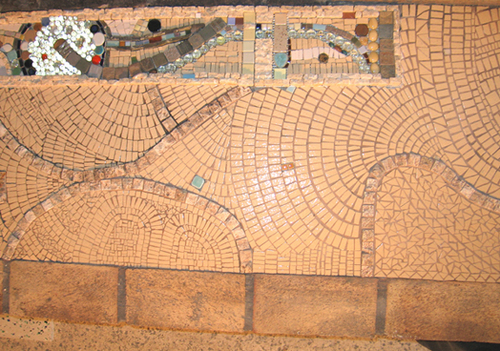 mosaic fireplace close-up (large view)