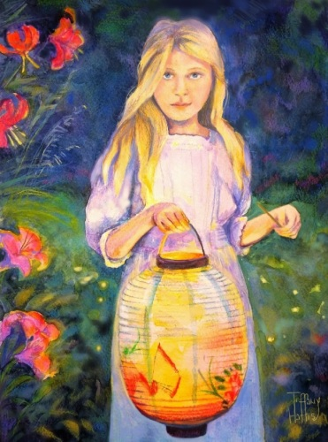 Girl with Chinese Lantern by Tiffany Harris