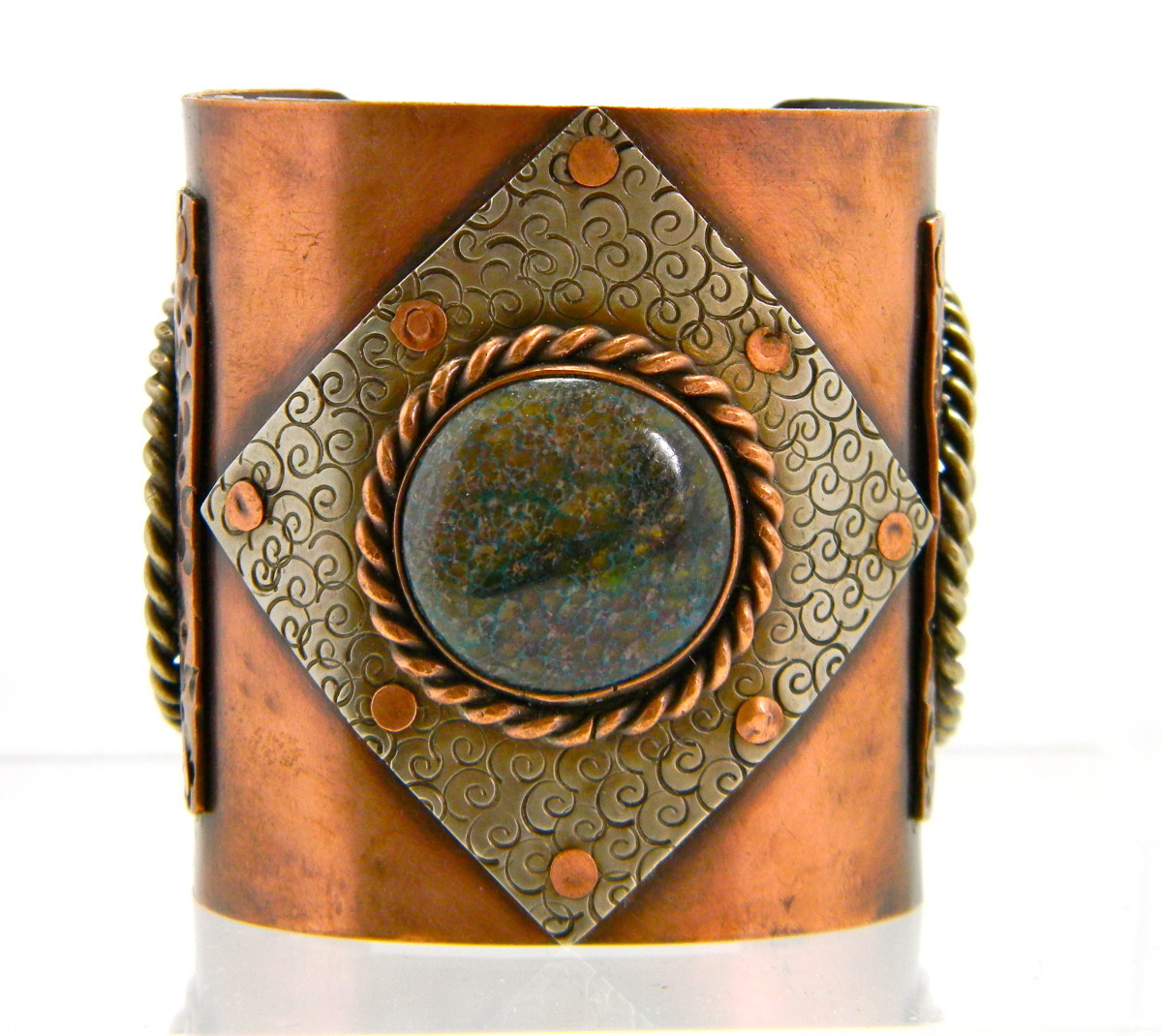 jewelry quot gemstone copper and german silver cuff