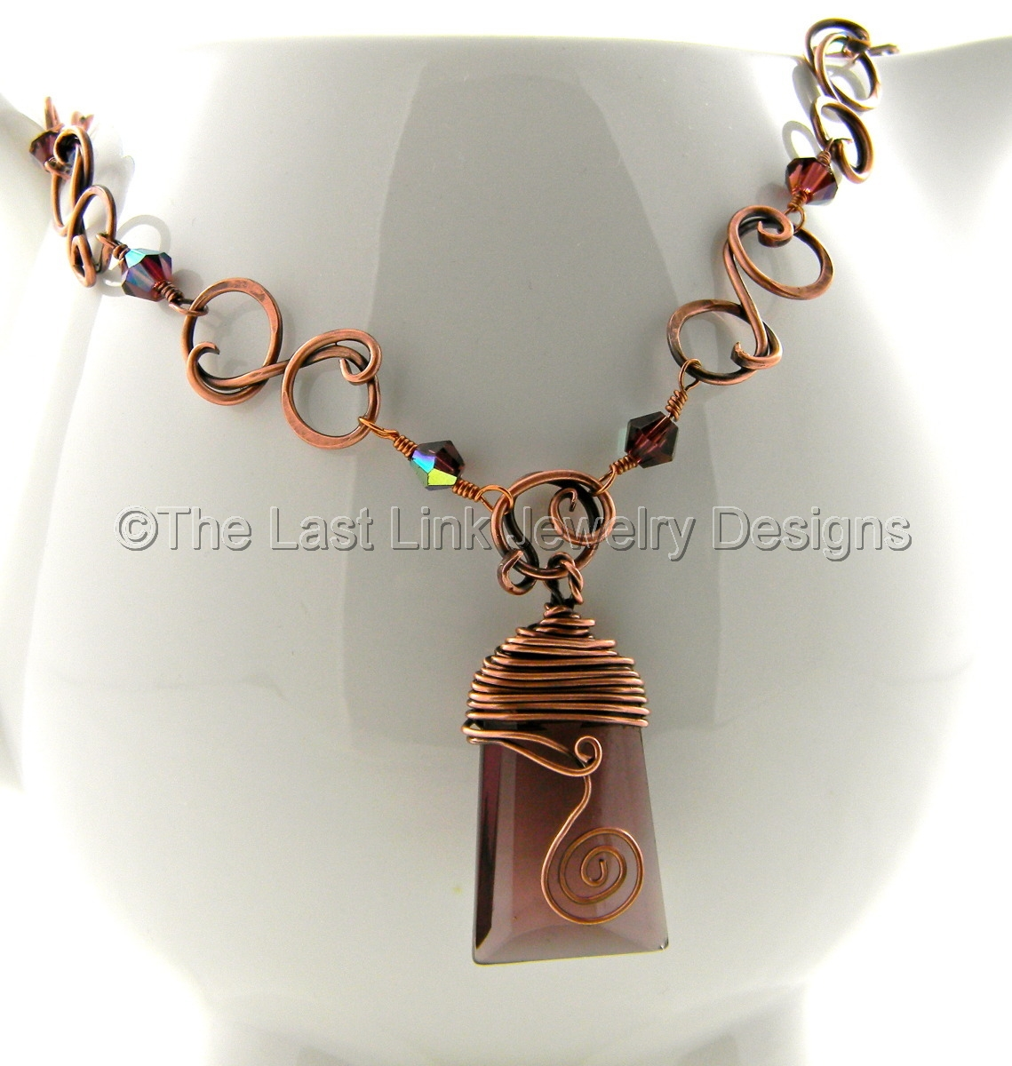 Large Purple Czech Crystal Reclaimed Copper Wire Wrapped Necklace