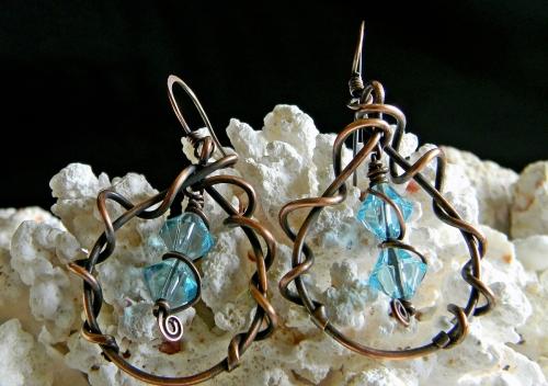 Ocean Blue Czech Crystal Swirl Hoop Earrings