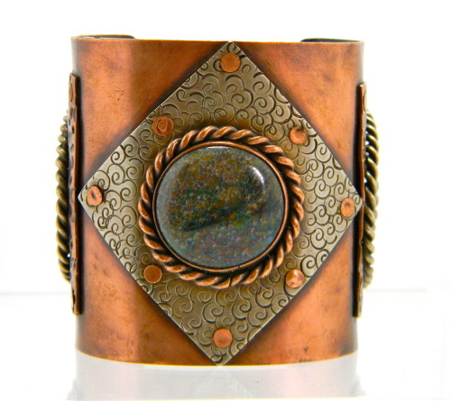 Gemstone Copper and German Silver Cuff