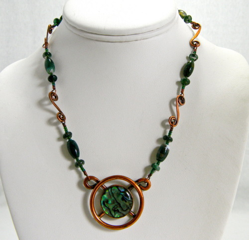 Paua Shell Reclaimed Copper Pendant with Jade, Jasper and Copper Chain