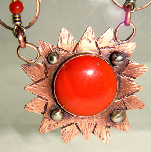 Red Jasper Sun Pendant, Carnelian, Reclaimed Copper and German Silver Chain
