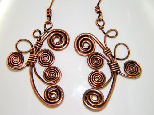 Wire Wrapped Reclaimed Copper Art Nouveau Earrings