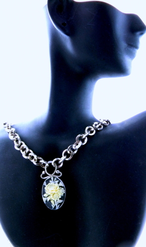Flower Cameo Pendant on Thick German Silver Square Hand Forged Chain