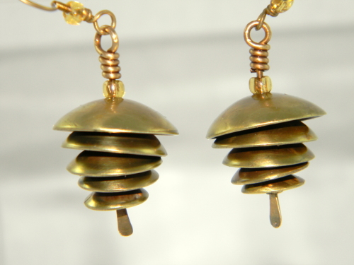 Five Domed Brass and Seed Bead Earrings