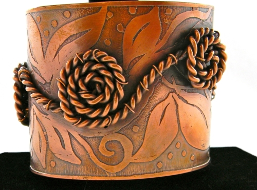 Flower and Leaf Etched Copper Cuff with Rope Swirl Detail