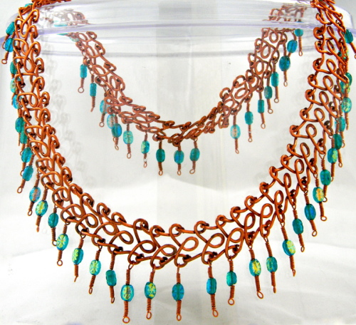 Egyptian Style Reclaimed Copper Collar with Pressed Glass Beads