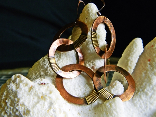 Long Reclaimed Copper Three Ring Earrings with Brass Accents