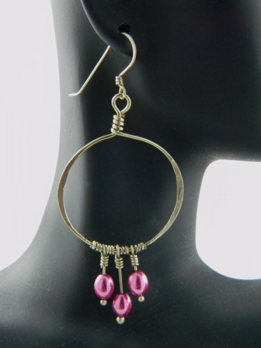 Funky German Silver and Radiant Orchid Pearl Earrings