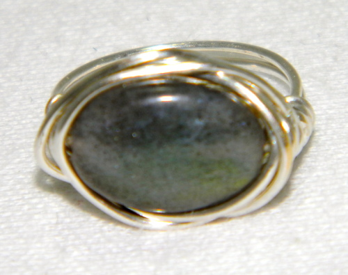 Labradorite Silver Filled Wire Wrapped Ring
