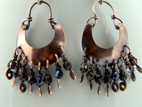 Iris Aurora Borealis Czech Crystal and Copper Boho Chic Earrings