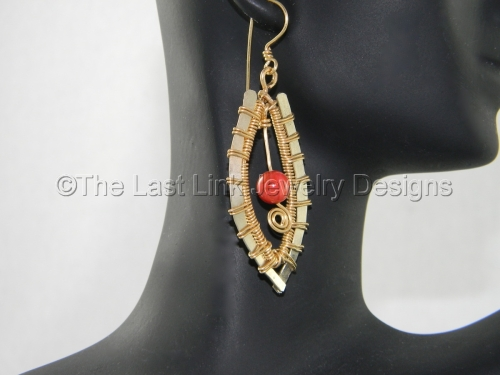 Red Agate, Brass and German Silver Dangle Earrings