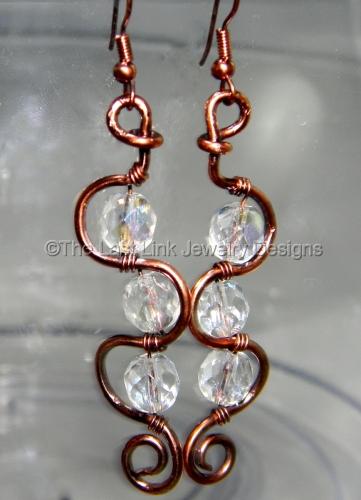 Crystal and Reclaimed Copper Boho Dangle Earrings