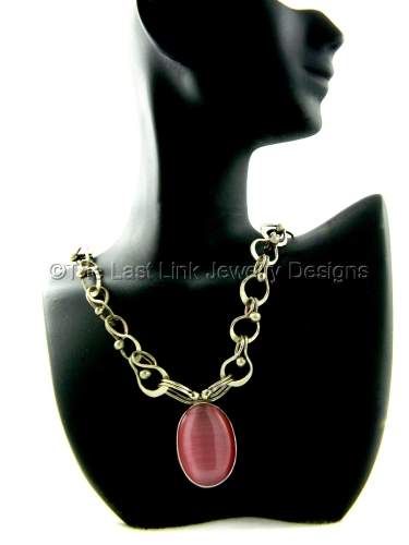 Pink Cats Eye and German Silver Necklace