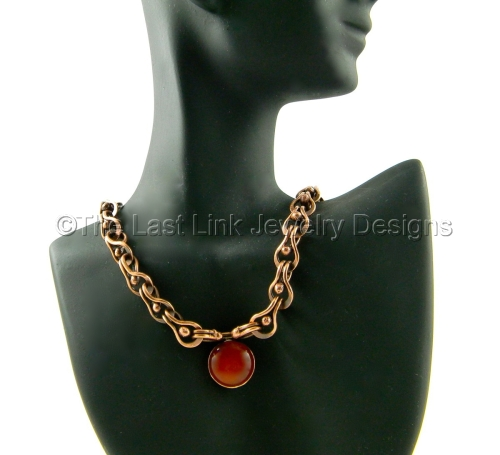 Reclaimed Copper and Carnelian Necklace