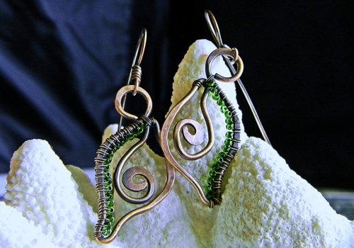 Green Seed Bead and Copper Scroll 'Shell' Earrings