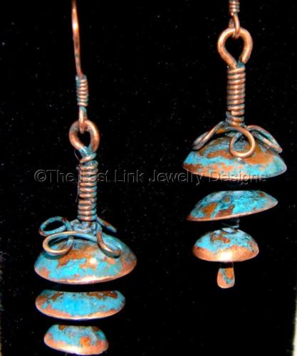 Blue Patina Three Domed Dangle Earrings