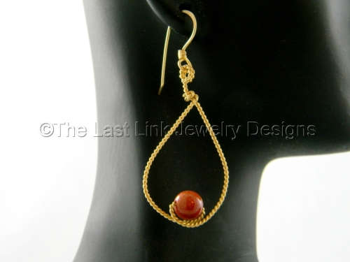 Goldstone and Brass Rope Wire Wrapped Earrings
