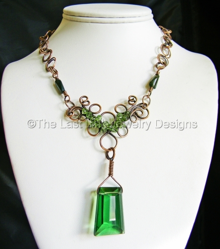 Large Czech Crystal Wire Wrapped 'Flower' Necklace