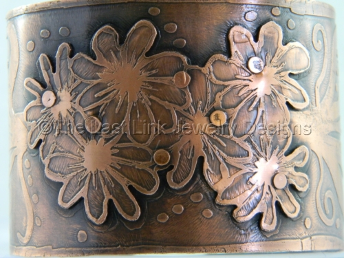 Etched, Riveted Copper 'Flower' Cuff