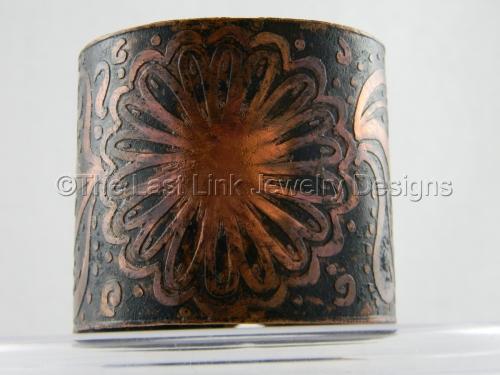 Etched Aztec Inspired Sunburst Cuff