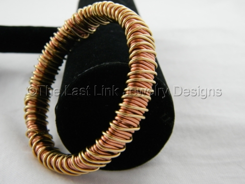 Wire Wrapped Copper and Brass Bangle