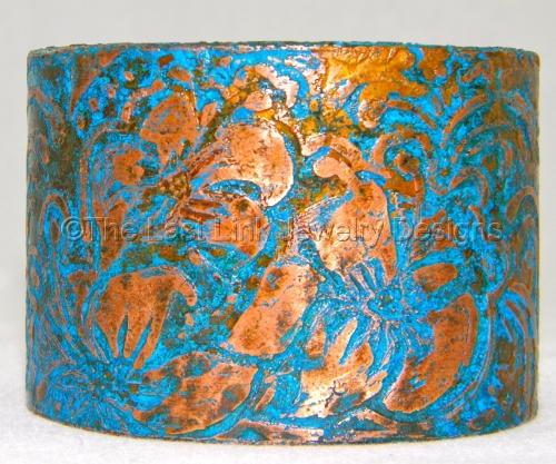 Blue Patina Hand Etched Copper Cuff