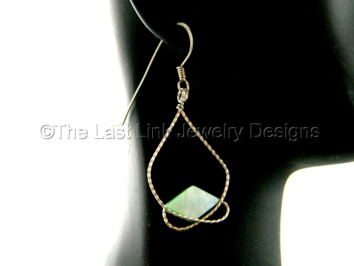 Mint Mother of Pearl and German Silver Earrings
