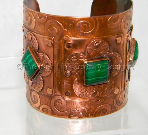 Malachite and Etched Copper Riveted Cuff