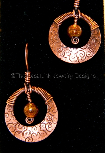 Stamped and Wire Wrapped Dichroic Glass Copper Earrings