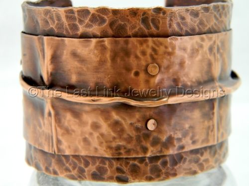Fold Formed and Textured Reclaimed Copper Cuff