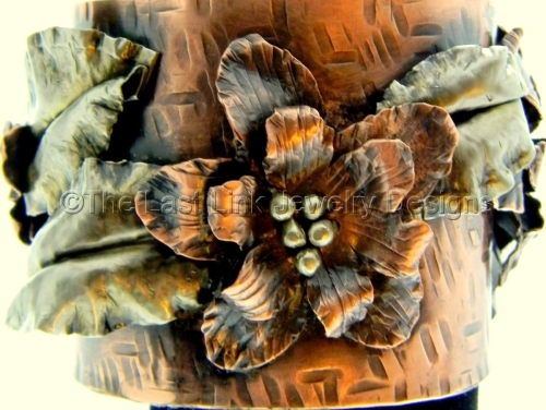 Fold Formed Textured Copper Flower and Leaf Cuff
