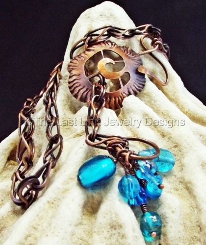 Long Flower Lariat Necklace with Turquoise Lampwork Beads