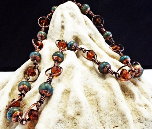 Faceted Amber Crystal, Porcelain and Reclaimed Copper Necklace with Hand Forged Bead Caps