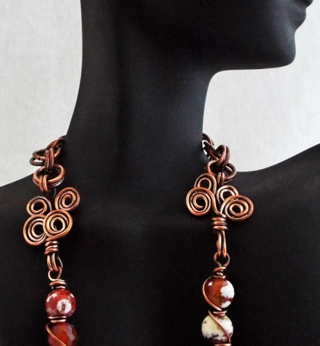 Carnelian and White Onyx Wire Wrapped Reclaimed Copper Necklace