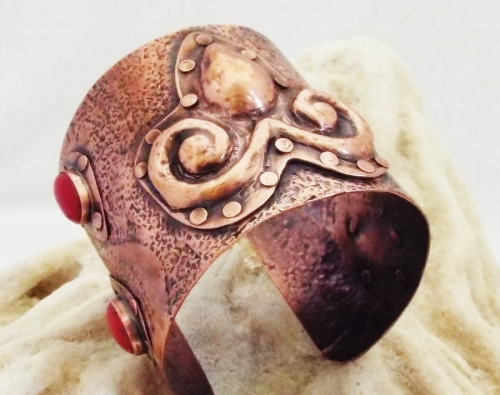 Celtic Red Coral and Textured Copper Cuff