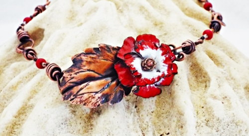 Enameled Hibiscus Flower and Red Feldspar Copper Necklace