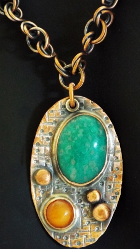 Russian Amazonite and Carnelian Textured Pendant on a Reclaimed Copper Chain