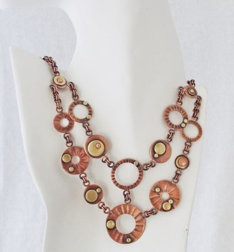Textured Copper and Brass Two Strand Necklace