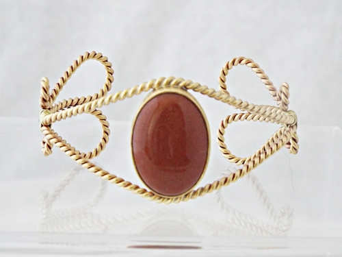 Elegant Brass and Goldstone Bracelet