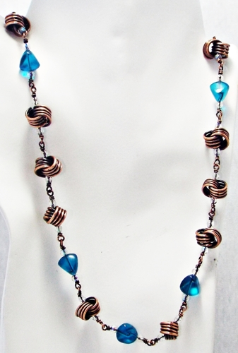 Love Knot Copper and Aqua Czech Crystal Necklace