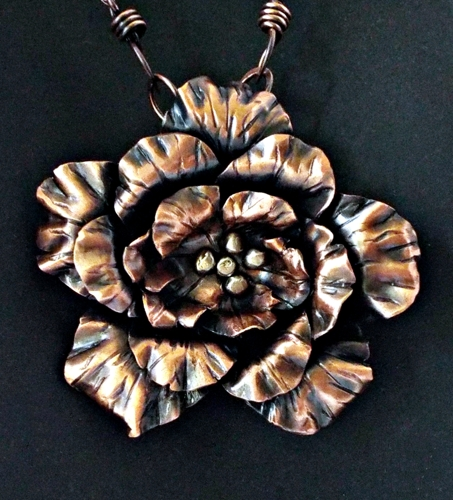 Fold Form Flower with Vintage Mercury Glass Beads